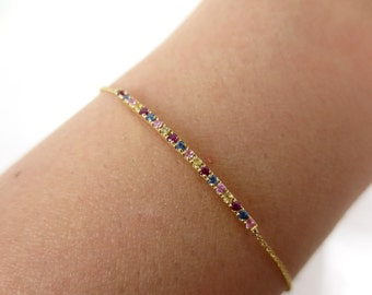 Rainbow Pave Bar Charm Bracelet set in 18k Yellow Gold.