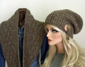 Infintiy Scarf, Souchy Hat, Medium Brown Scarf,  Boho Chic, Crocheted Infinity Scarf, Women's Winter Accessory, Slouch Hat with Button