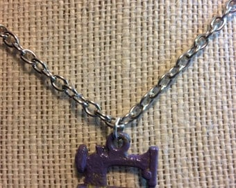 "18"" Purple and Lime Sewing Machine Necklace"