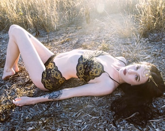 Limited Edition Dreamy Black and Gold Sheer Lace Bralette Top - by Aniela Parys Designs