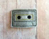 Retro Cassette Tape Hair Clip, Embroidered Felt with Choice of Clip, Pin, Band, or Slider, Made in USA