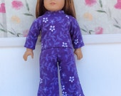 18 Inch Doll Clothes, Pajamas, Purple Floral Pajamas, Flannel Pyjamas, Winter Doll Clothes, fits 18 Inch Dolls such as American Girl Dolls