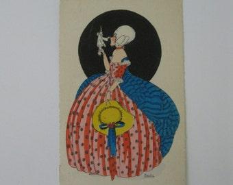 Douky - Artist Signed Post Card - EDF, Paris - Fantasy Fashions - Pierrot - Art Deco - Used - 1933
