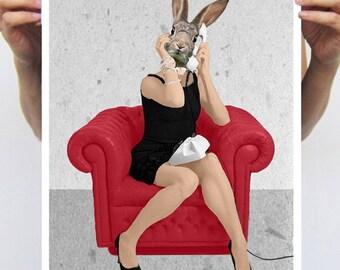 Rabbit calling, Art Print painting drawing illustration portrait painting mixed media digital print POSTER 11x16