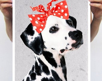 Dalmation Girl Poster, Art Print painting drawing illustration portrait painting mixed media digital print POSTER 11x16