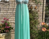 1970's Olga Nightgown Vintage Long Aqua