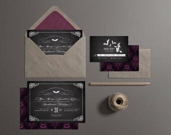 Halloween Wedding Invitations, Printable Halloween Wedding Invites, Off Beat Bride Wedding Invites (Chalkboard)