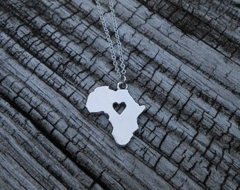 I Love Africa Necklace Heart Africa Jewelry Continent Necklace Geography Necklace Charm Jewelry Map Necklace Christmas Gifts for Her