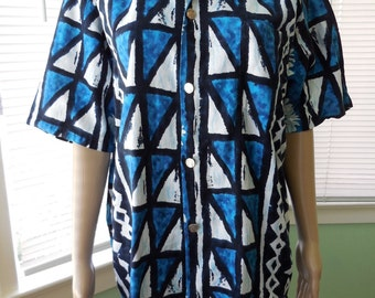 Vintage STAN HICKS HAWAIIAN Shirt/Mens Vintage Batik Shirt/Hippie Surfer Shirt/Rockabilly/Blue Batik/Tailor Fit/60s Vintage Shirt/Medium