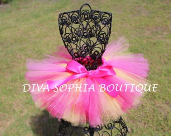 Hot Pink and Yellow Tutu - Newborn Baby Infant Tutu - Toddler Tutu