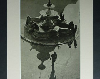 1940s Vintage Irish Print of Berwick Fountain, Cork Gift, Available Framed, Ireland Art, Shadow Wall Art, Photography Decor, Water Picture