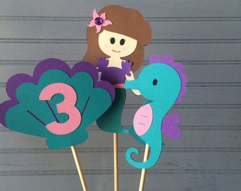 Mermaid Birthday Centerpiece, set of 6