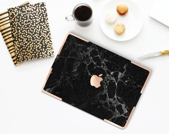 Black Marble with Rose Gold Accents Hybrid Hard Case for Apple Macbook Air & Mac Pro Retina, New Macbook 12""