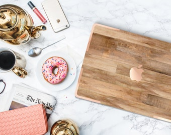 """Untreated Wood with Rose Gold Accents Hybrid Hard Case for Apple Macbook Air , Mac Pro Retina, New Macbook 12"""""""