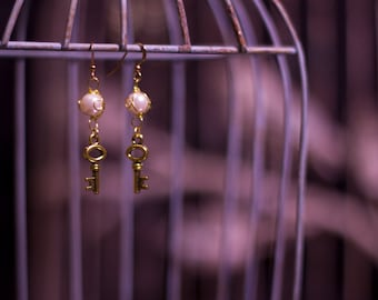 Gold Pearl and Key Earrings