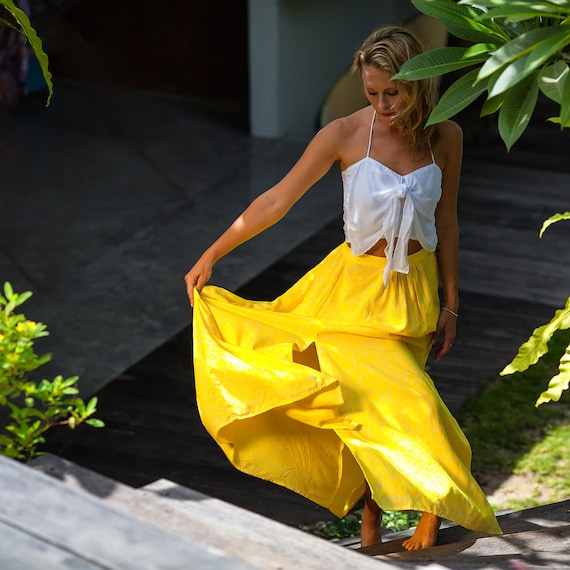 bright yellow white retro flower maxi skirt high side