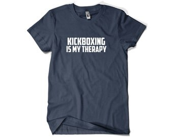 Kickboxer Shirt-Kickboxing is My Theraphy T Shirt Gift Men Women