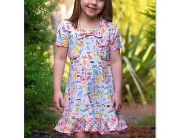 PDF sewing pattern Girl's dress pattern, The Carousel Sundress & Topper pdf sewing pattern sizes 3 to 10 years.