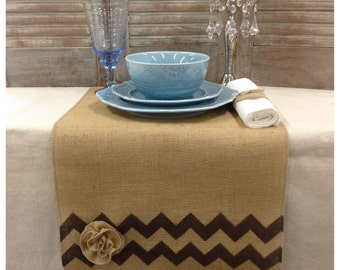 """Burlap Table Runner  16"""" or 18"""" wide with Chevrons & a flower on each end - Wedding runner Holiday decorating Home decor Chevron runner"""