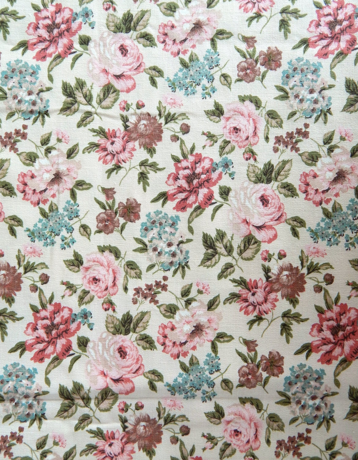 Vintage Waverly Bonded Fabric Barkcloth Cotton 4 Yards Floral