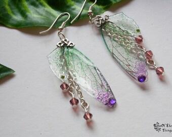 Fairy wings earrings. Fairy earrings. Purple wings. Fantasy jewelry