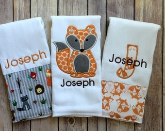 Personalized Baby Boy Woodland Creatures Burp Cloth Set, Monogrammed Burp Cloth Set, Fox Burp Cloth, Personalized Woodland Animals, Baby Boy