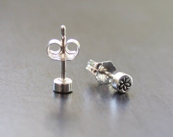 Sterling Silver Daisy 'Dot' Studs - 3.5mm across and 2mm thick solid stud earrings with butterfly backs