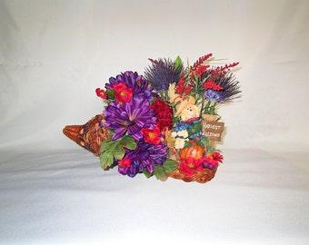 Fall Cornucopia, Silk Flower Arrangement with Scarecrow among Autumn Flowers and a Turkey, Fall Silk Floral Table Decor, Fall Home Decor