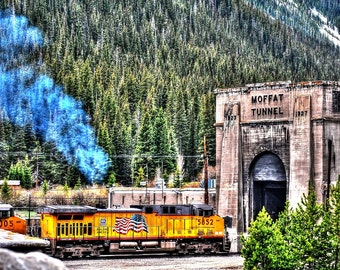 Union Pacific Train Entering East Portal of Moffat Tunnel Colorado - DIGITAL IMAGE