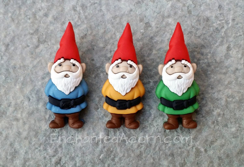 3 Fairy Garden Gnomes Gnome Buttons Miniature Fairy Garden