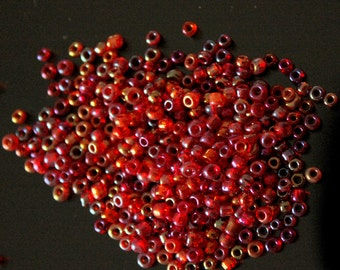 Red And Purple Two Tone Round Seed Beads, 11g Bag Glass Beads, Approx. 3 mm