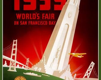 San Francisco World's Fair 1939 - Print of old  Travel Poster
