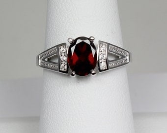 Natural Garnet Ring with Diamonds / Garnet Ring Silver January Birthstone
