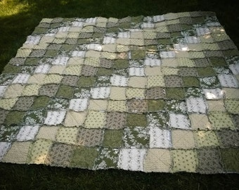 Cotton Rag Quilt - Patchwork Quilt - 100% Cotton Quilt - Custom Home Decor - Custom Quilt - Made to Order