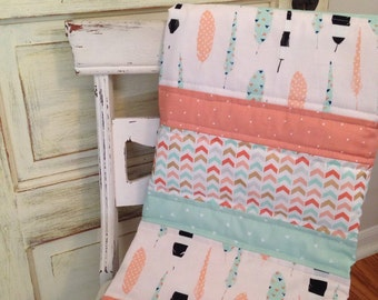 Boho Feather Baby Quilt - Coral, Mint, and Gold Baby Quilt