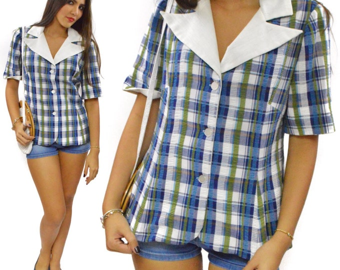 Vintage 90s Gingham Short Sleeve Shirt Top
