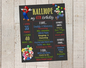 First Birthday Chalkboard- Custom First Birthday Sign- Super Mario Brother- Chalkboard Stats-Custom Digital File-Birthday Party-Birthday