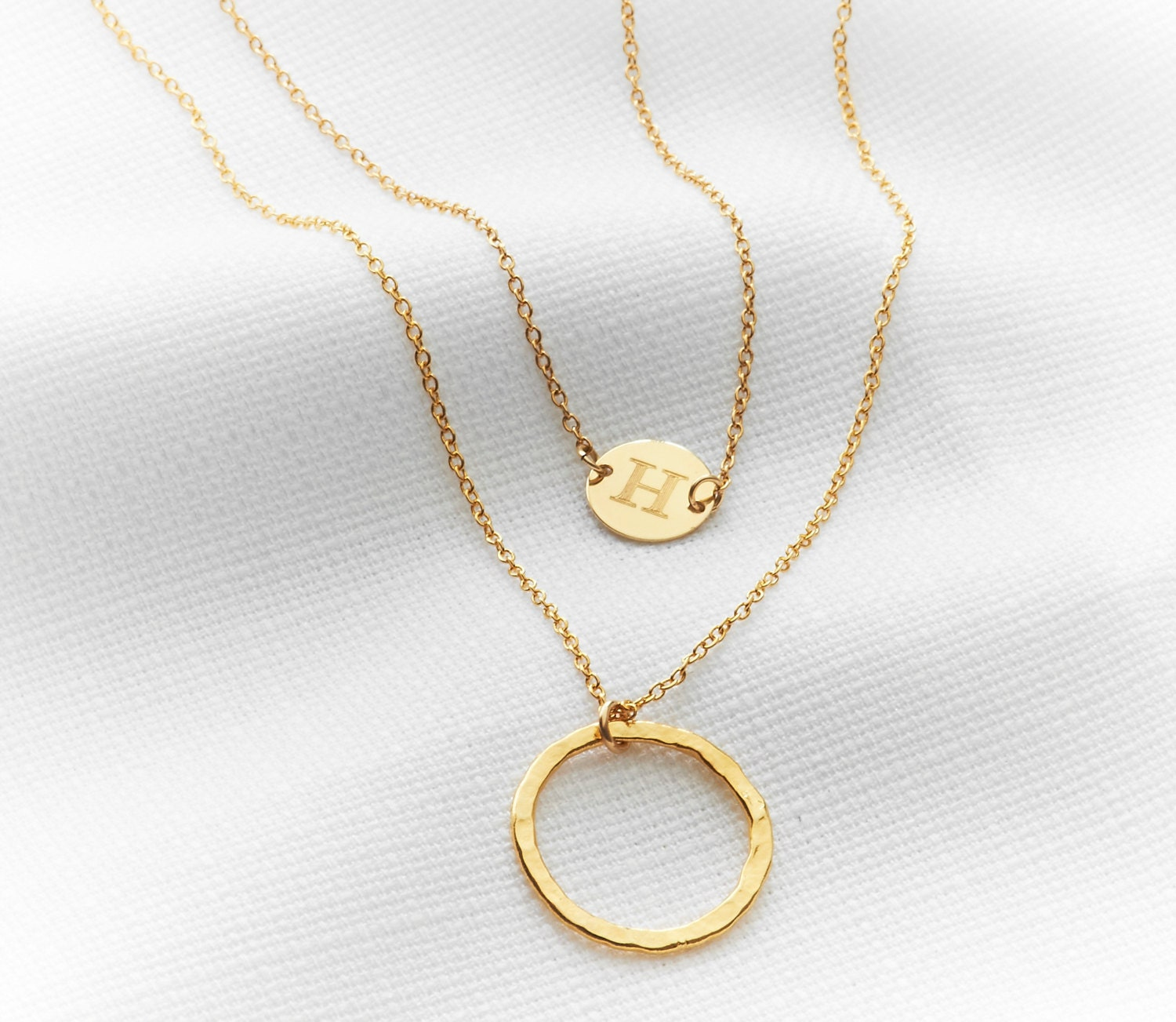 gold necklace initial necklace layered necklace by