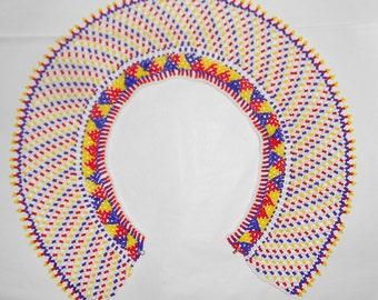 """Vintage African beaded glass bib collar necklace Cleopatra Style Stunning beadwork  3.5"""" wide 1950s Mid 20th Century"""