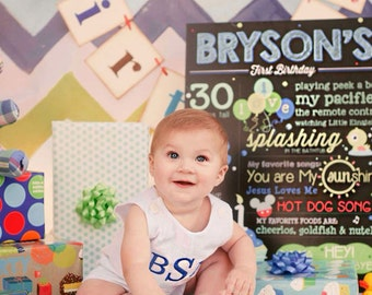 "First Birthday Prop - Chalkboard Poster - JPG Digital File 18"" x 24"""