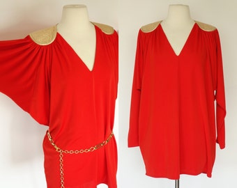 1970s red and gold top mini dress, Grecian dolman sleeve tapered top dress, disco metallic gold Bill Tice V neck long sleeve top S, M, L