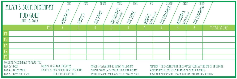 Pub Golf Scorecard Custom Printable