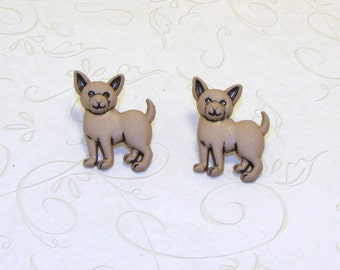 Brown Chiwawa Puppy Dog Stud/Post Earring, Clip On Earrings, Dog Jewelry, Dog Earring, Puppy Earrings, Puppy Jewelry, Pet Lovers
