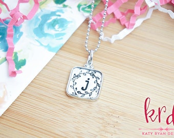 Pewter Initial Necklace - Monogram Jewelry - Initial Necklace - Initial Jewelry - Gifts Under 20 - Gifts for Her - Silver Stamped Necklace