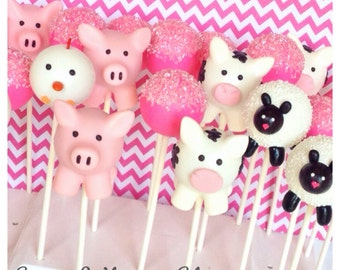 24 Farm Animal & Pink Sugar Crystal Cake Pops - Cow, Pig, Chicken, Sheep for girly John Deere birthday, baby shower, 4H, FFA, Old McDonald