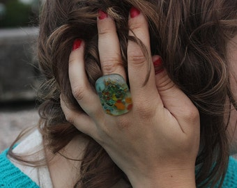 Glass ring, handmade, adjustable size, fused, colorful, large, everyday use