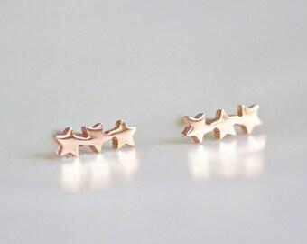 Stars, Stud Earrings, Rose Gold, Earrings, Star, Silver Earrings, Gift For Her, Stainless Steel, Gold Earrings, Jewellery, Best Friends,Gift