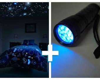 Glow in the Dark Star Ceiling kit with UV light for children's bedroom. Realistic glow stars and UV light to supercharge your Star Ceiling.