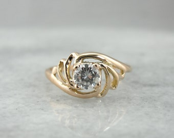 Vintage Single Diamond Ring in Yellow Gold L89KVN-D