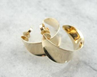 Wardrobe Basic, Polished Yellow Gold Hoop Earrings 7ZZJ0Y-R